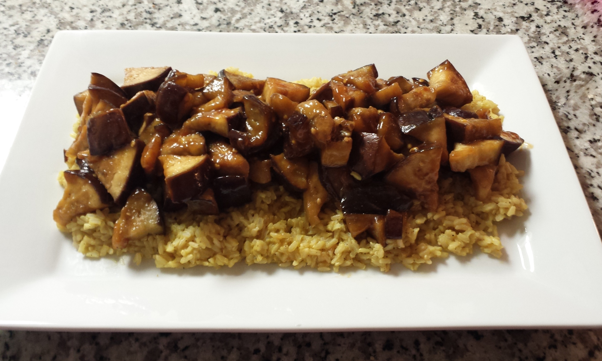 Sweet and Sour Eggplant over Brown Rice