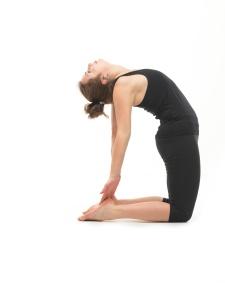woman in reversed yoga posture