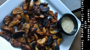 Roasted Plantain with Garlic Lime Dipping Sauce