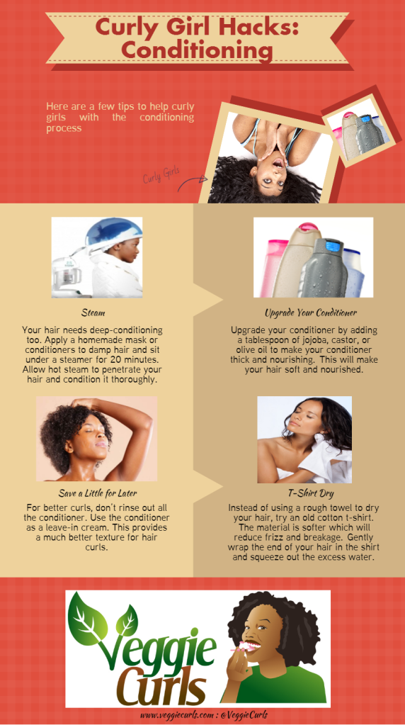 Curly girl hacks conditioning infographic